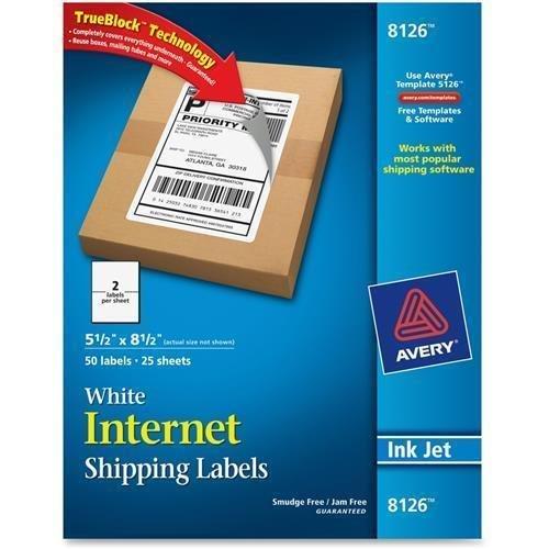 5.50″ Width x 8.50″ Length – 8126 Avery InkJet Shipping Labels – Inkjet – White – 2/Sheet – 50 / Pack – Rectangle