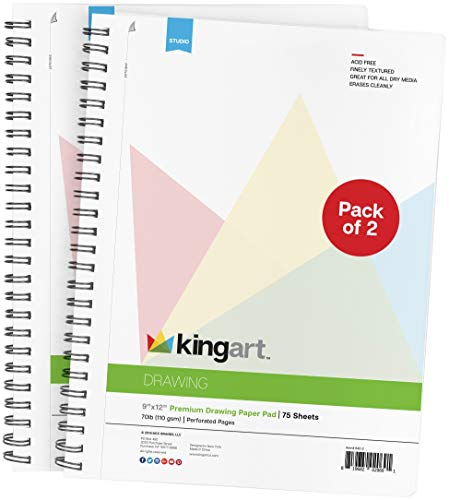KINGART Drawing Paper Pad, Perforated, Side Wire Bound, 70 LBS. 110G, 9″ X 12″, 75 Sheets Set of 2