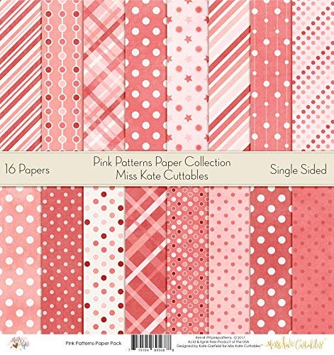 by Miss Kate Cuttables – Pattern Paper Pack – Scrapbook Premium Specialty Paper Single-Sided 12″x12″ Collection Includes 16 Sheets – Pink Patterns