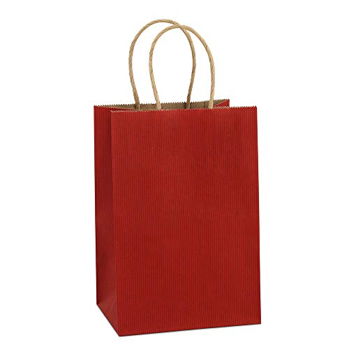 BagDream Kraft Paper Bags 25Pcs 5.25″x3.75″x8″, Rose, Shopping Bag, Kraft Bags, Red Stripes Bags with Handles