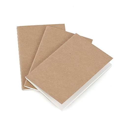 Traveler's Pocket Notebook Refill Inserts – Blank Unlined Paper – Set of 3 | Passport Journal Size | for Small Refillable Travel Journals, Diaries and Notebooks – 5 x 3.5 Inches 12.5 x 9 cm B7