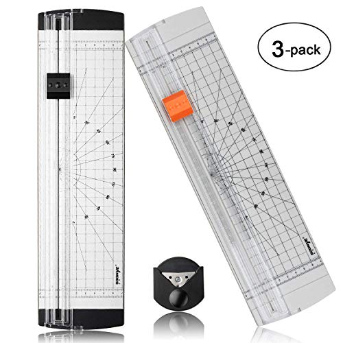 A4 Paper Cutter 12 Inch Titanium Paper Trimmer with Round Corner and Side Ruler for Craft Paper, Photo and Label 3 Packs, White and Black