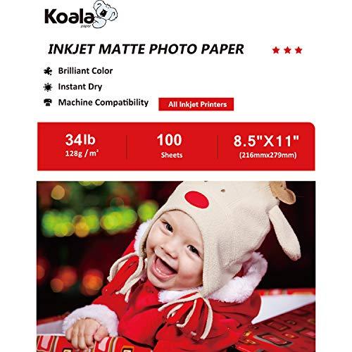 Koala Paper Matte Photo Paper 100 Sheets 8.5''x11'' 128gsm 6.5 mil Compatible with Inkjet Printer