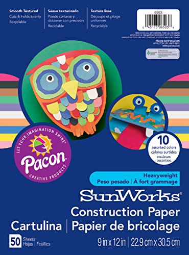 Pacon SunWorks Construction Paper, 9-Inches by 12-Inches, 50-Count, Assorted 6503