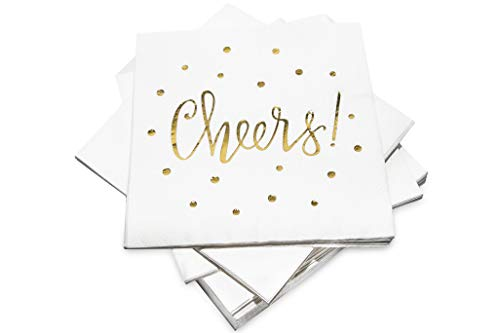 Perfect for Birthdays, Bridal, New Years, Anniversary and Special Occasions – by Simple Glee – Pack of 50 Cheers Cocktail Party Napkins 3-Ply – Disposable Paper Napkins Gold Foil Designs