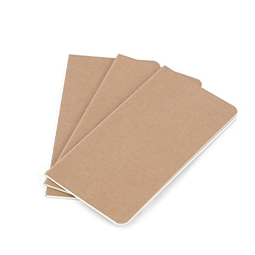 Thick Blank Unlined Paper Journal Refill – Thick Traveler's Notebook Inserts – Set of 3 Pack | for Refillable Leather Travel Journals, Diaries and Fountain Pens 120gsm | 8.25 x 4.25 Inch 21 x 11cm