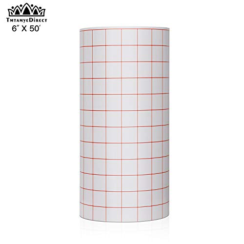 Clear Vinyl Transfer Paper Tape Roll 6″ x 50 Feet Clear w/Red Alignment Grid – Application Transfer Tape Perfect for Cricut Cameo Self Adhesive Vinyl for Signs Stickers Decals Walls Doors & Windows
