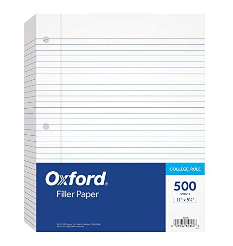 Oxford Filler Paper, 8-1/2″ x 11″, College Rule, 3-Hole Punched, Loose-Leaf Paper for 3-Ring Binders, 500 Sheets Per Pack62349