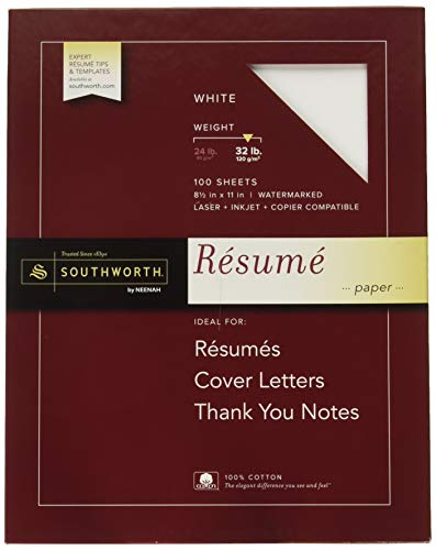 Southworth Exceptional Resume Paper, 100% Cotton, 32 lb, White, 100 Count RD18ICF