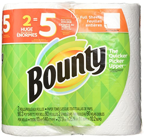 Bounty 2-Ply Paper Towels, 11in. x 10 1/4in, White, Pack Of 2 Huge Rolls