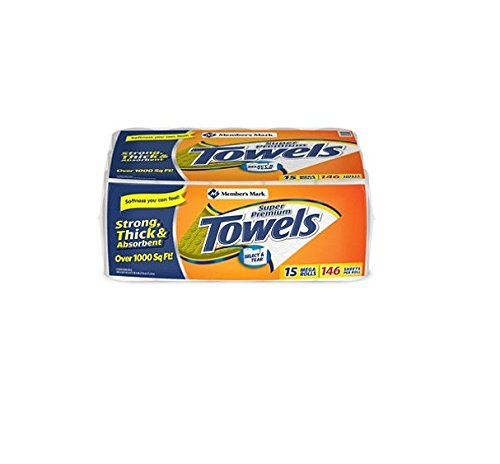 Member's Mark Super Premium, 2-Ply Paper Towels 15 Rolls, 146 Sheets per Roll