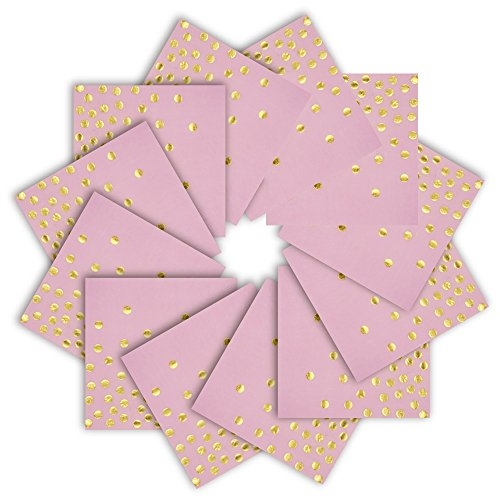 """Pink Paper Napkins 6.5"""" 50counts 2-Ply Pink and Gold Foil Dots Disposable Napkins for Wedding Birthday Babyshower for Girl Bridal Shower Celebrations Weekend Party Pink with Gold Dots, 6.5""""x6.5"""""""
