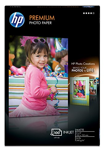 HP Premium Photo Paper, matte 100 sheets, 4 x 6-inch with tab