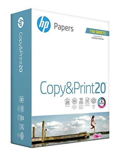 HP Printer Paper, Copy and Print20, 8.5 x 11 Paper, Letter Size, 20lb Paper, 92 Bright, 750 Sheets / 1 Ream 200030R Acid Free Paper