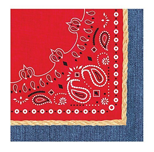 Creative Converting 3-Ply Bandanarama Lunch Napkins, Red Value Pack: 48 Count