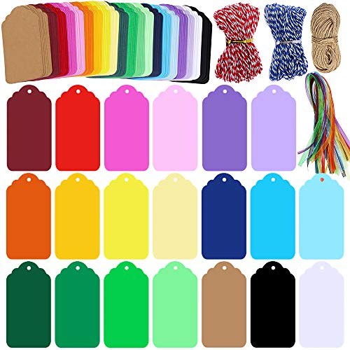Supla 200 Pcs 20 Colors Gift Tags Sign with String Party Favor Paper Tags Escort Cards Wishing Tree Tags Name Place Cards Hanging Sign Tags Price Tags Labels Treats Tags Scrapbook Cards with Hole