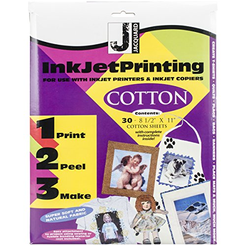 """Jacquard Ink Jet Fabric 8.5"""" x 11"""" Cotton Sheets 30 Pack"""
