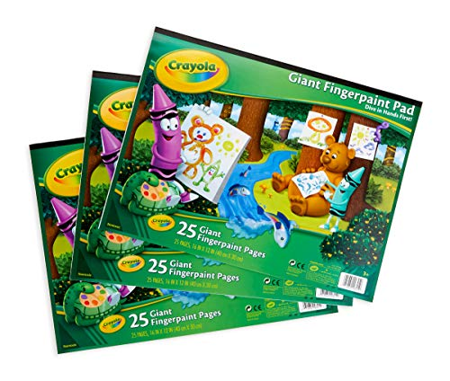 Crayola 3 Giant Fingerpaint Pads, Each 25 Pages, 16″ X 12″Gift, 3 Pack, Easter Basket Stuffers, Gift