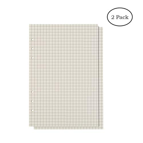 HOY Filler Paper College Ruled Paper 6 Holes Lined Paper For 6-Ring Binders Journal Notebook Diary Loose Leaf Paper 80 Pages For A5 Per Item ( Grid x 2 Pack