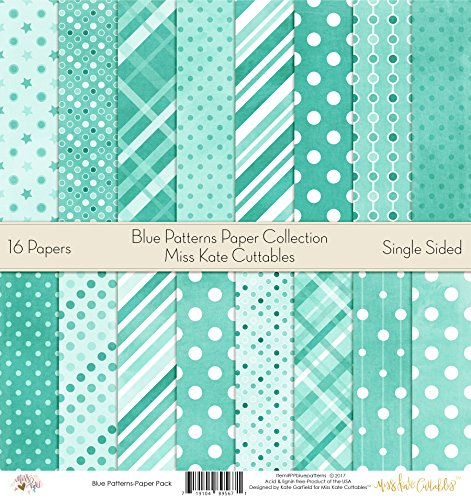 Pattern Paper Pack – Scrapbook Premium Specialty Paper Single-Sided 12″x12″ Collection Includes 16 Sheets – by Miss Kate Cuttables – Blue Patterns