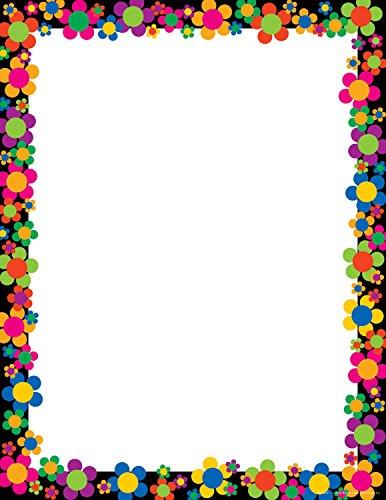 Barker Creek 8-1/2 x 11″ Designer Computer Paper, Neon Flower Power, 50-Sheets LL-730