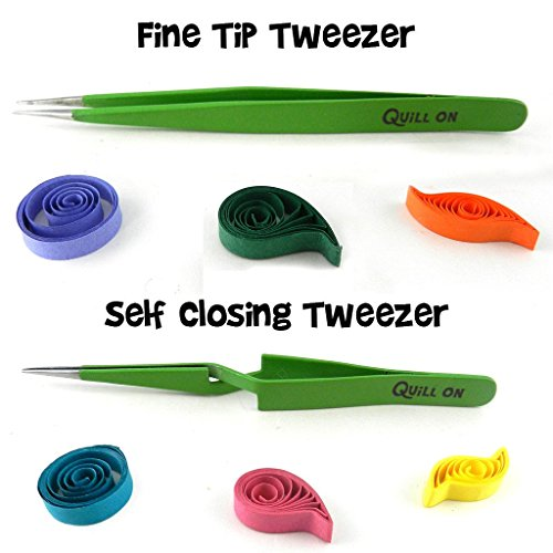 Quill On-Quilling Tweezers – Quilling Tools-Combo of Fine Tip Tweezer and Self Closing Tweezer- Essential Quilling Tool – Set of 2