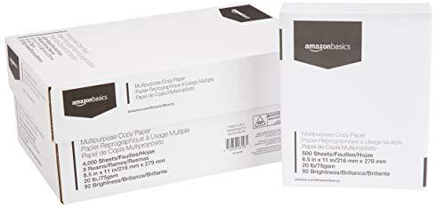 8.5 x 11 Inches, 8 Ream Case 4,000 Sheets – AmazonBasics 92 Bright Multipurpose Copy Paper