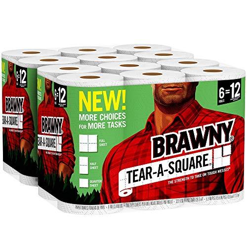 Brawny Tear-A-Square Paper Towels, 12 Rolls, 12 = 24 Regualr Rolls, 3 Sheet Size Options, Quarter Size Sheets