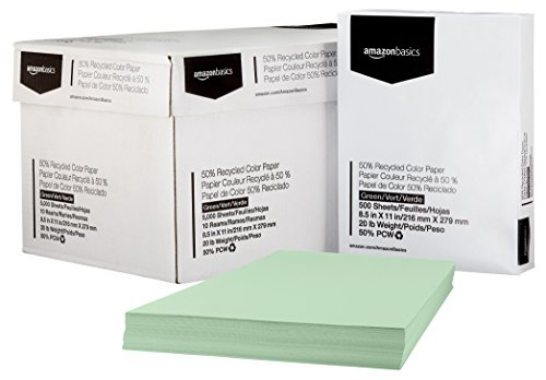 Green, 8.5 x 11 Inches, 20 lbs, 10 Ream Case 5,000 Sheets – AmazonBasics 50% Recycled Color Paper
