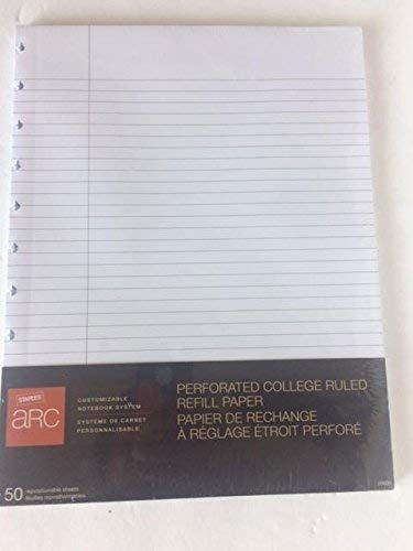 Staples ARC Customizable Notebook Perforated College Ruled Refill Paper, 11inch x 8.5inch