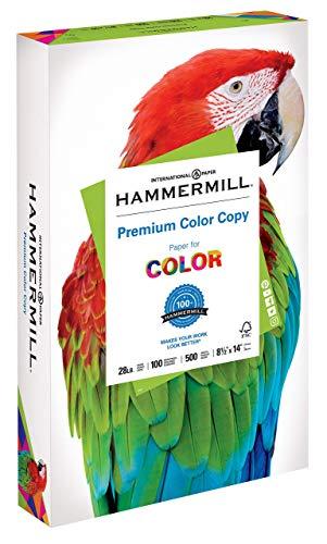 Hammermill Paper, Premium Color Copy Paper 8.5 x 14 Paper, Legal Size, 28lb Paper, 100 Bright, 1 Ream / 500 Sheets 102475R Acid Free Paper Renewed