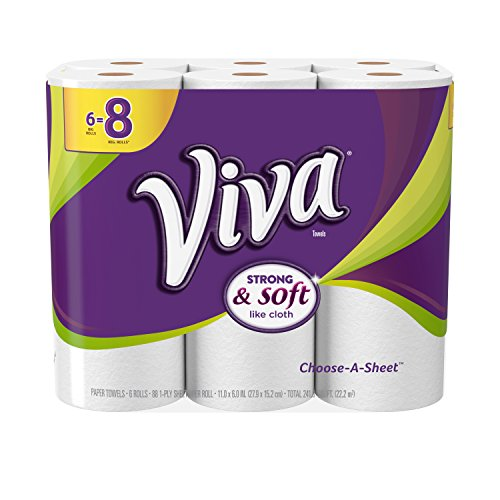 VIVA Choose-A-Sheet Paper Towels White Big Roll, 6 Rolls, Cloth-Like Texture, Strong & Soft Paper Towels for Ultimate Clean package May Vary