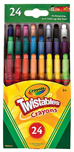 Crayola Mini Twistables Crayons, 24 Classic Crayola Colors Non-Toxic Art Tools for Kids & Toddlers 3 & Up, Great for Kids Classrooms or Preschools, Self-Sharpening No-Mess Twist-Up Crayons