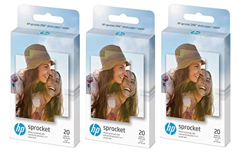 HP Zink Sticky-backed Photo Paper 2″ x 3″ inch, 20 Sheets, 3 Pack 60 Sheets