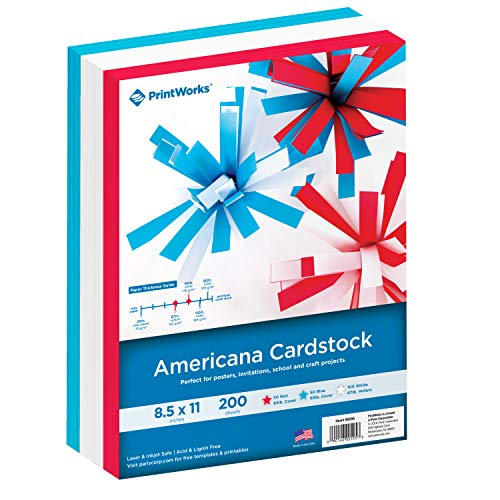 Printworks Americana Cardstock Collection, Heavyweight, Includes Patriotic Red, White & Blue Vellum Cardstocks, 200 Letter-Size Sheets Total, For Cards, Crafts, Signs & More 00595 …
