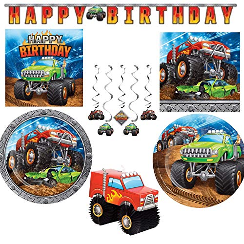 Monster Truck Themed Paper Party Supplies Serves 16: Dinner Plates + Cake Plates + Lunch Napkins + Beverage Napkins + Happy Birthday Banner + Centerpiece + Dizzy Danglers + Grandma Olive's Recipe