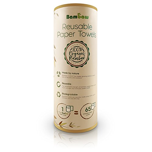 Reusable Paper Towel | Bamboo Eco kitchen roll | Multipurpose | Strong, Thick and Absorbent |100% Organic | Soft on Skin | Quick Dry and Antibacterial | 20 Reusable Sheets | Bambaw