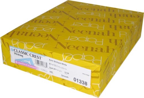 Neenah Classic Crest, 80lb/216 GSM, Solar White, 97 Bright, 8 1/2 x 11, 250ct 04701
