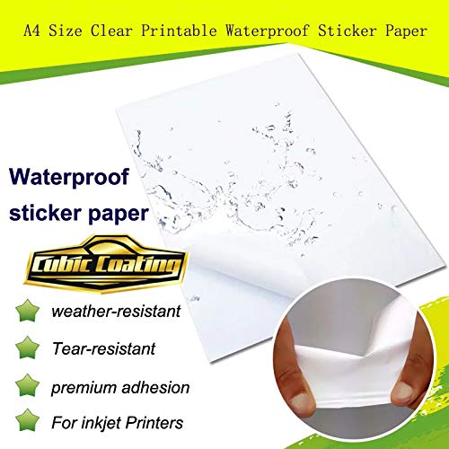Waterproof Sticker Paper Clear A4 Size 8.5″ x 11″ 20 Sheets Printable Vinyl Sticker Paper for Inkjet Printer