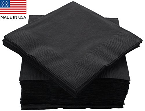 """Amcrate Big Party Pack 125 Count Black Beverage Napkins – Ideal for Wedding, Party, Birthday, Dinner, Lunch, Cocktails. 5"""" x 5"""""""