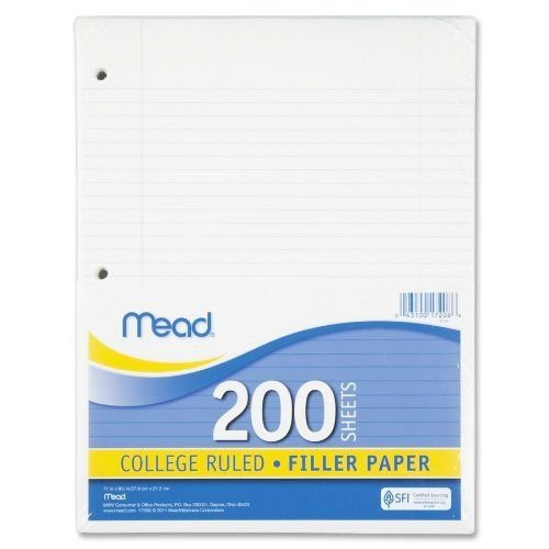 Mead 17208 Filler Paper, 15lb, College Rule, 11 x 8 1/2, White, 200 Sheets
