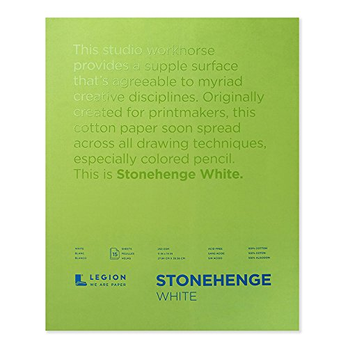 Legion Paper Stonehenge Pad L21-STP250WH1114, 11 by 14 inches, White, 15 Sheets
