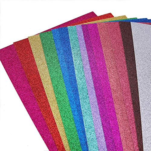 Glitter Cardstock Paper,30 sheets, Sparkle Shinny Craft Sheets, Multi Color Rainbow Glitter Cardstock, Premium A4 Glitter Paper,300 GSM, DIY Party Decorations,15 Colors, Multipack Pack of 2