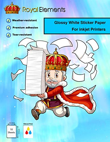 10 Sheets – Glossy White – Royal Elements Waterproof Printable Vinyl Sticker Paper for Inkjet Printer