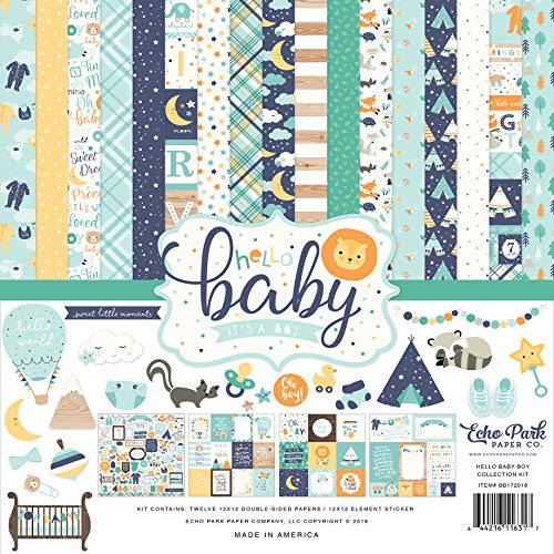 Echo Park Paper Company BB172016A Hello Baby Boy Collection Kit Paper Blue, Yellow, Green, Teal