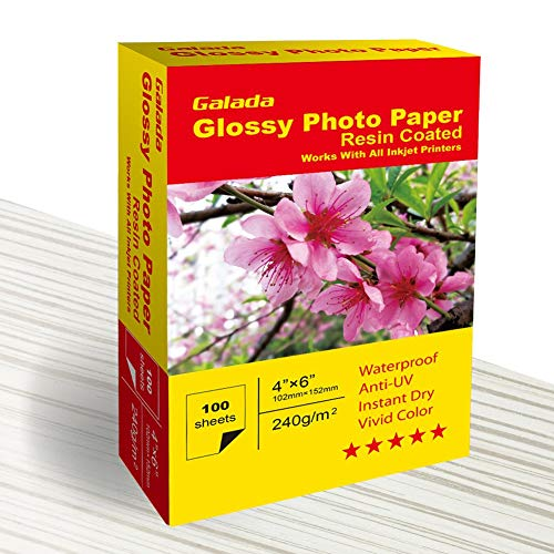 Galada Photo Paper 100 Sheets 4×6 Photo Paper High Glossy Vivid Color Waterproof Photographic Paper Works with All Inkjet Printers 4×6 Glossy Paper 100sheets