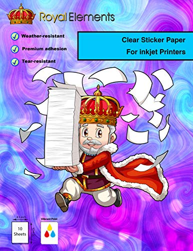 Frost Clear – 10 Sheets – Royal Elements Waterproof Printable Vinyl Sticker Paper for Inkjet Printer