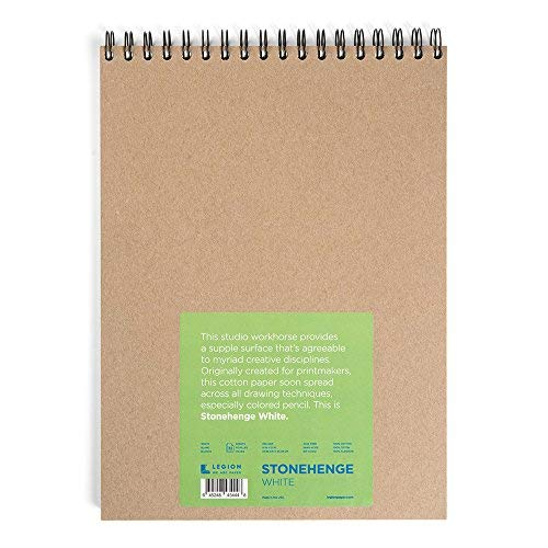 Legion Stonehenge Wired Pad L21-SPR250WH912, Cotton Deckle Edge Paper, 9 By 12 Inches, White Paper, 32 Sheets