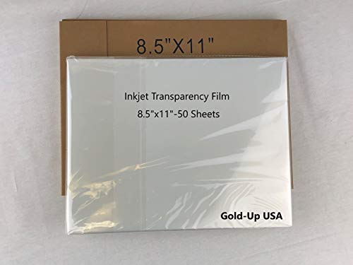 8.5 x 11 Inch Waterproof Inkjet Transparency Film for Silk Screen Printing – 1 Pack 50 Sheets