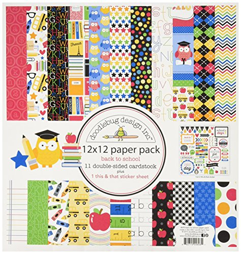 DOODLEBUG School Paper Pack, 12 by 12″